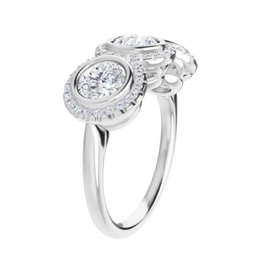 Round Moissanite Halo 3 Stone Ring - 2.15tcw - 2.45tcw