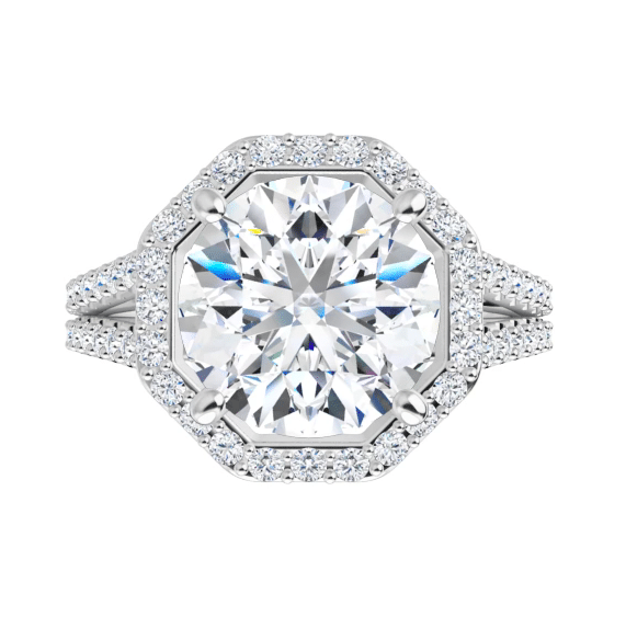 Round Moissanite  Halo Engagement Ring - 2.70tcw - 4.40tcw