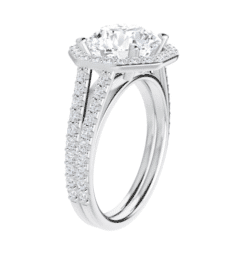 Round Moissanite  Halo Engagement Ring - 2.70tcw - 4.40tcw