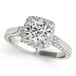 Round Moissanite Halo Engagement Ring - 1.40tcw
