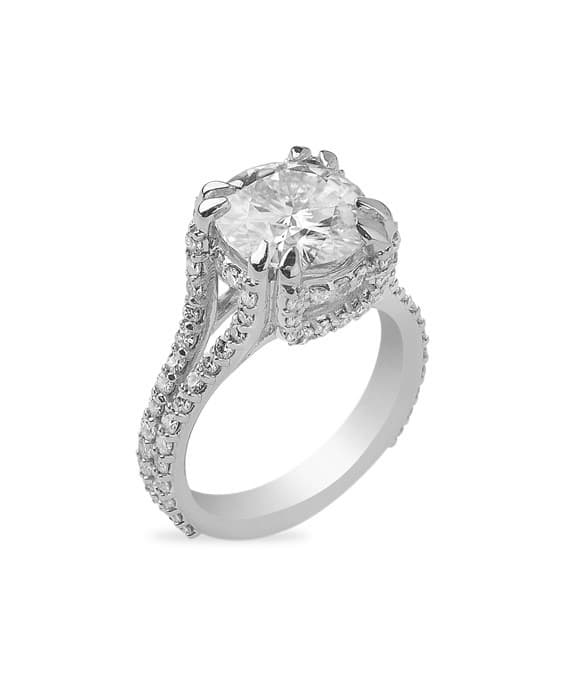 Round Moissanite Halo Pave Engagement Ring - 3.35tcw - 3.85tcw