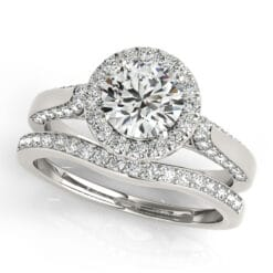Round Moissanite Halo Pave Engagement Ring - 1.40tcw