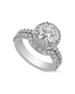 Round Moissanite Halo Wedding Set Ring - 1.75tcw