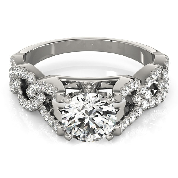 Round Moissanite Link Band Engagement Ring - 3.00tcw - 4.70tcw