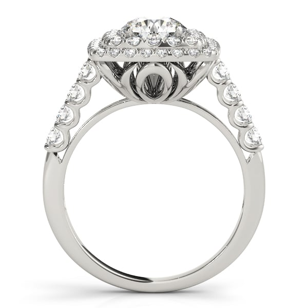 Round Moissanite Micro Pave Double Halo Engagement Ring - 2.10tcw