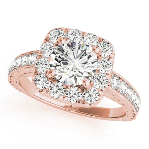 Round Moissanite Micro Pave Halo Antique Engagement Ring - 1.55tcw