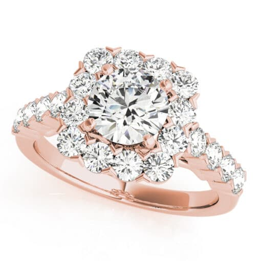 Round Moissanite Micro Pave Halo Engagement Ring - 2.15tcw - 3.05tcw