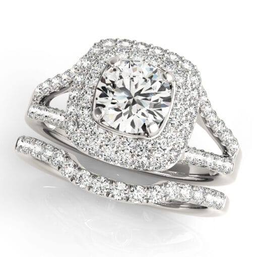 Round Moissanite Micro Pave Halo Engagement Ring - 2.10tcw