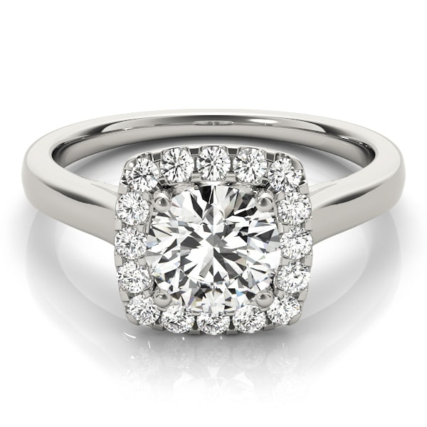 Round Moissanite Micro Pave Halo Engagement Ring - 1.30tcw