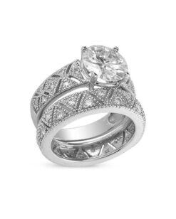 Round Moissanite Milgrain Engagement Ring - 2.70tcw
