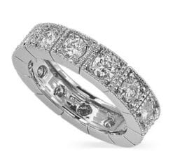 Round Moissanite Milgrain Eternity Ring - 1.60tcw - 2.08tcw