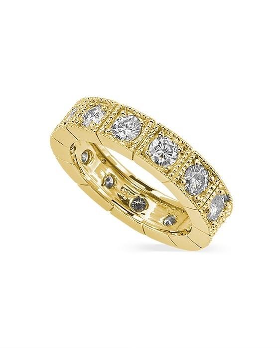 Round Moissanite Milgrain Eternity Ring - 1.60tcw - 2.08tcw