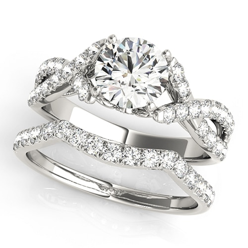 Round Moissanite Moissanite Pave Cross Band Engagement Ring - 2.05tcw
