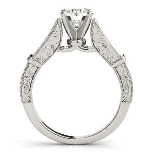 Round Moissanite Pave Channel Set Engagement Ring - 1.45tcw