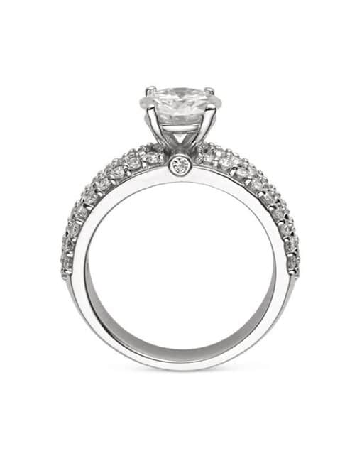 Round Moissanite Pave Engagement Ring - 1.50tcw - 4.10tcw