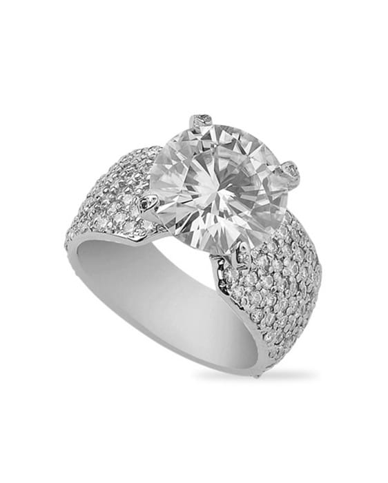 Round Moissanite Pave Engagement Ring - 6.85tcw - 8.00tcw