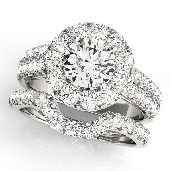 Round Moissanite Pave Halo Engagement Ring - 2.55tcw