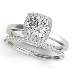 Round Moissanite Pave Halo Wedding Set Ring - 1.75tcw - 2.25tcw