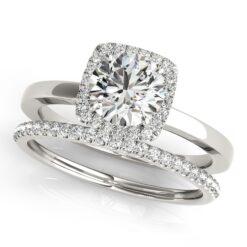 Round Moissanite Pave Halo Wedding Set Ring - 1.75tcw - 2.25tcw