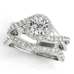 Round Moissanite Pave Halo Wedding Set Ring - 1.30tcw