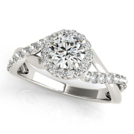 Round Moissanite Pave Halo Wedding Set Ring - 1.30tcw