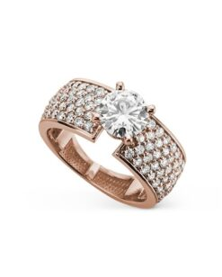 Round Moissanite Pave Side Stones Engagement Ring - 1.90tcw