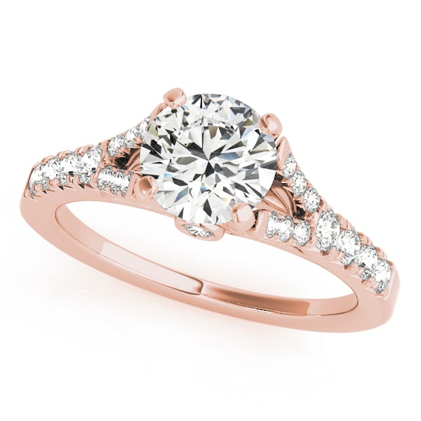 Round Moissanite Pave Side Stones Engagement Ring - 1.45tcw - 3.05tcw