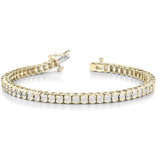 Round Moissanite Semi Bezel Tennis Bracelet - 2.00tcw - 8.00tcw