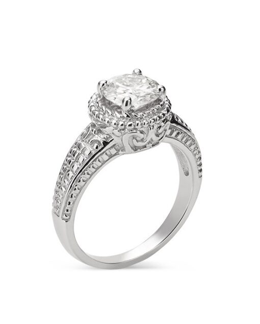 Round Moissanite Side Stones Engagement Ring - 1.20tcw