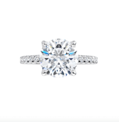 Round Moissanite Side Stones Engagement Ring - 1.85tcw - 6.98tcw