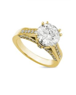Round Moissanite Side Stones Engagement Ring - 1.60tcw - 3.30tcw