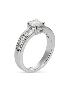 Round Moissanite Side Stones Engagement Ring - 1.05tcw