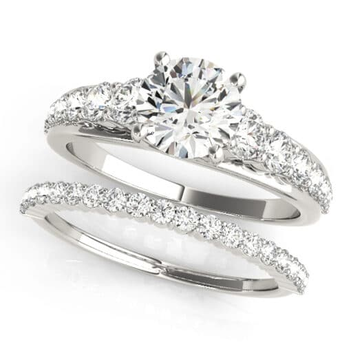 Round Moissanite Side Stones Engagement Ring - 1.65tcw - 2.55tcw