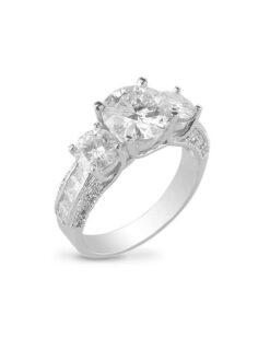 Round Moissanite Three Stone Ring - 3.50tcw
