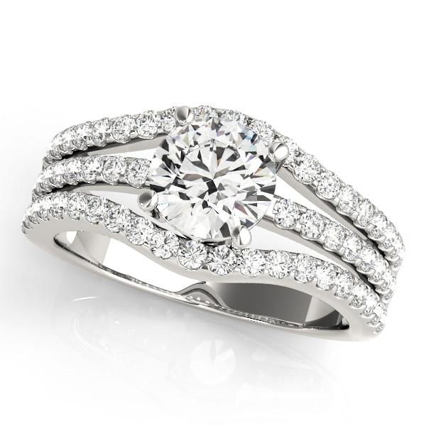 Round Moissanite Tri Band Engagement Ring - 2.75tcw