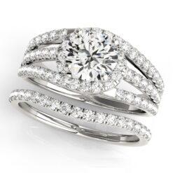 Round Moissanite Tri Band Engagement Ring - 2.30tcw