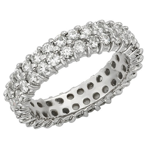 Round Moissanite Twin Band Eternity Wedding Band Ring - 3.00tcw - 7.36tcw