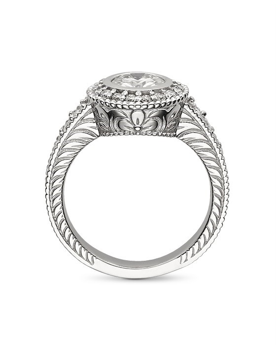 Round Moissanite Vintage Bezel Engagement Ring - 2.15tcw