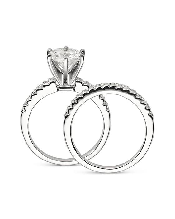 Round Moissanite Wedding Set Ring - 1.45tcw - 5.20tcw