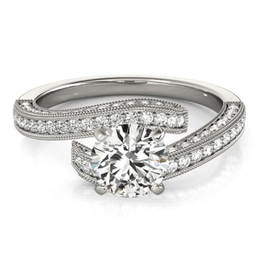 Round Moissanite Wrap Side Stones Engagement Ring - 2.40tcw - 4.10tcw