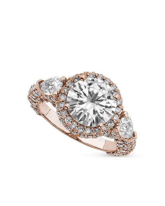 Round & Pear Moissanite Halo Pave Engagement Ring - 5.00tcw