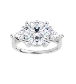 Round & Trillion Moissanite 3 Stone Ring - 2.50tcw - 4.20tcw