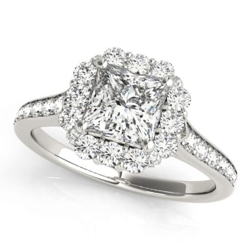 Square Brilliant Moissanite Halo Pave Engagement Ring - 1.60tcw
