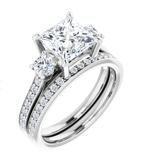Square Moissanite 3 Stone Ring - 1.80tcw - 3.60tcw