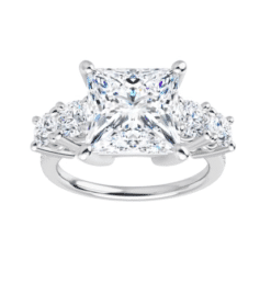 Square Moissanite 5 Stone Engagement Ring - 2.30tcw - 4.10tcw