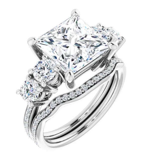 Square Moissanite 5 Stone Engagement Ring - 2.30tcw - 4.10tcw