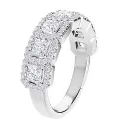 Square Moissanite 7 Stone Halo Anniversary Wedding Band Ring - 1.63tcw