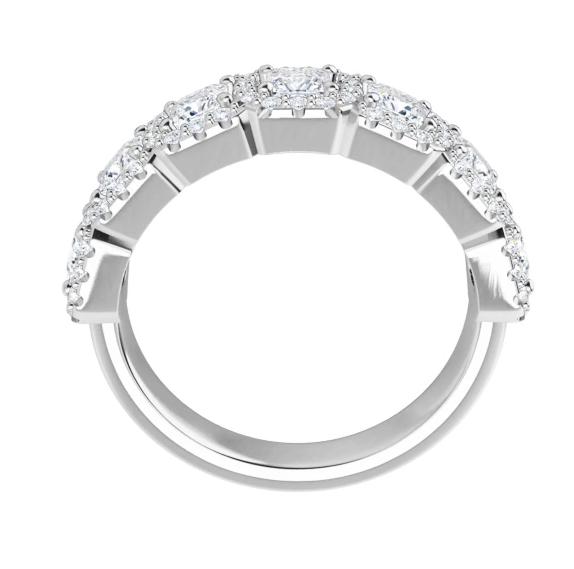 Square Moissanite 7 Stone Halo Anniversary Wedding Band Ring - 1.63tcw