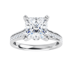 Square Moissanite Channel Band Bezel Engagement Ring - 2.45tcw - 3.55tcw