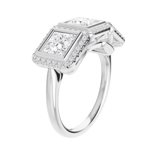 Square Moissanite Halo 3 Stone Engagement Ring -1.05tcw - 1.85tcw
